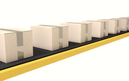 cinta transportadora: Un sistema de cinta transportadora regular de transporte de cajas de cart�n sobre un fondo blanco del estudio Foto de archivo