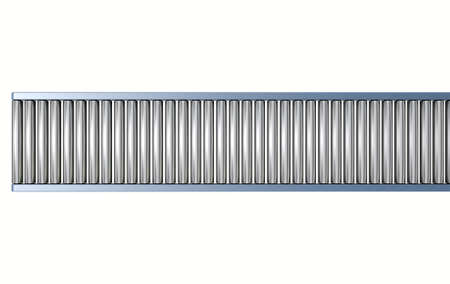 cinta transportadora: Un transportador de rodillos vacía regularmente en un aislado fondo blanco de estudio
