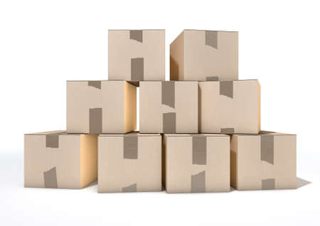 taped: A stack of regular brown cardboard boxes taped shut on an isolated white studio background
