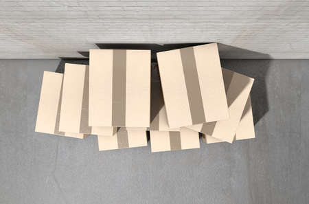 empty warehouse: A stack of regular brown cardboard boxes taped shut on an an an empty industrial warehouse background