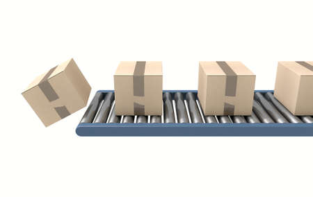 fragile industry: A regular roller conveyor system transporting cardboard boxes off the end on an isolated white studio background