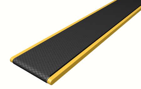 conveyor belt: A regular empty belt conveyor on an isolated white studio background Stock Photo
