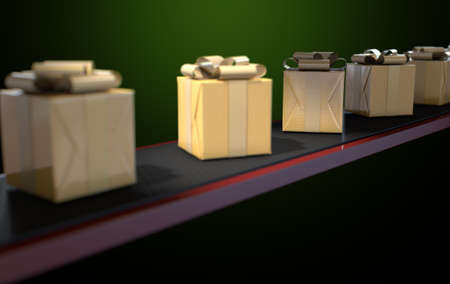 belt: A row of wrapped gift boxes in a golden paper and ribbon on a manufacturing conveyor belt