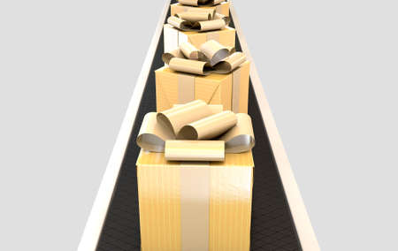 manufacturing: A row of wrapped gift boxes in a golden paper and ribbon on a manufacturing conveyor belt