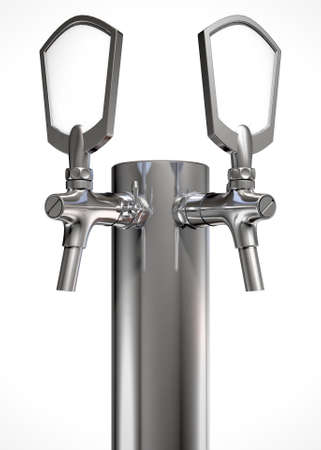 draught: A regular double chrome draught beer tap on an isolated white background