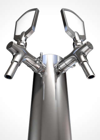 handle bars: A regular double chrome draught beer tap on an isolated white background