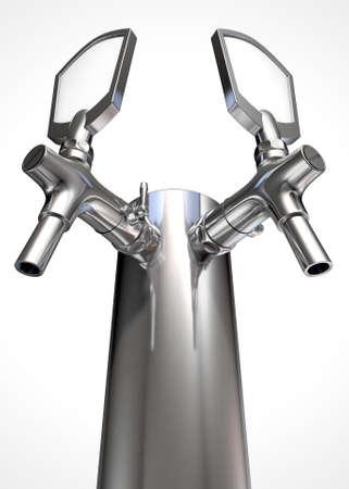 manejar: Un proyecto de cromo doble grifo de cerveza regular sobre un fondo blanco aislado