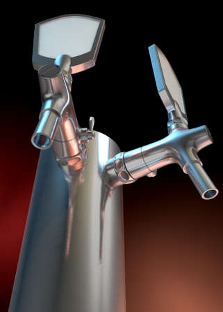 draught: A regular double chrome draught beer tap on a dark background Stock Photo