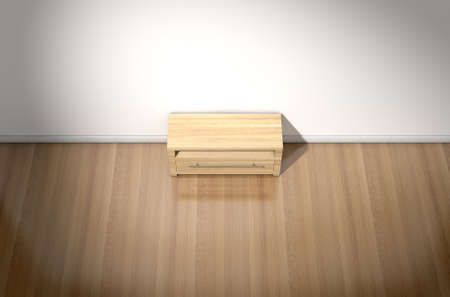 unoccupied: An empty  room in a house with white walls and a reflective wooden floor with a wooden plasma unit
