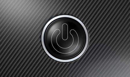 fibra de carbono: Un primer plano de un botón de encendido moderna con luces blancas sobre una superficie de fibra de carbono con textura