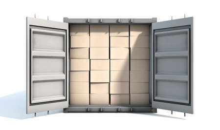 An open shipping container packed with cardboard boxes on an isolated white background