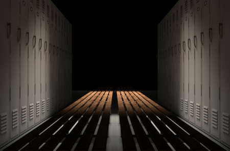 A direct top view of a row of regular gym changeroom lockers seperated by a wooden bench in a corridor