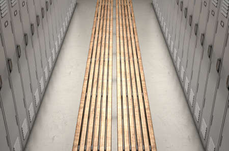seperated: A direct top view of a row of regular gym changeroom lockers seperated by a wooden bench in a corridor