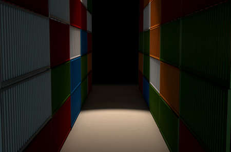 tare: A corridor bewteen two rows of stacked colorful metal freight shipping containers