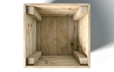 distribution board: An open empty wooden box on an isolated white studio background Stock Photo