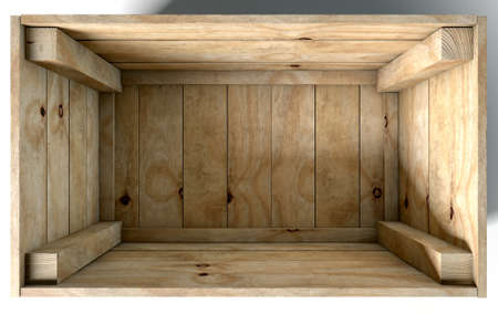boxed: An open empty wooden box on an isolated white studio background Stock Photo