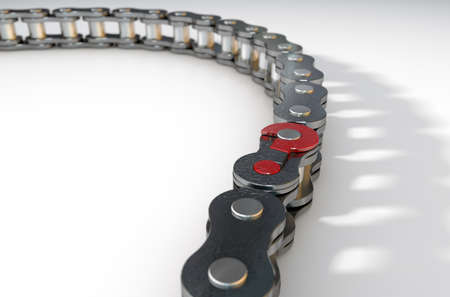 missing link: A regular bicycle chain with a question mark as its master  link on an isolated background