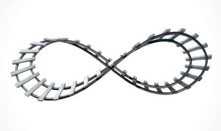 bucle: Una sección de la vía férrea en la forma de un símbolo de infinito en un aislado fondo blanco de estudio Foto de archivo