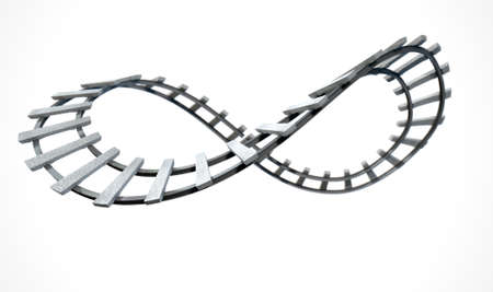 railway track: A section of railway track in the shape of an infinity symbol on an isolated white studio background Stock Photo