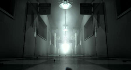 eerie: An eerie haunted look down the dimly lit passage of a dilapidated mental asylum with rooms and signs Stock Photo