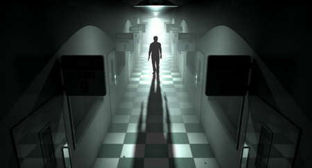 ghostly: A ghostly figure casts a long shadow down the middle of a dimly lit passage of a dilapidated mental asylum