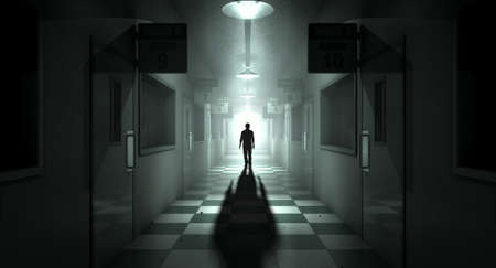 dimly: A ghostly figure casts a long shadow down the middle of a dimly lit passage of a dilapidated mental asylum