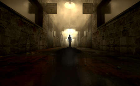asylum: A ghostly figure casts a long shadow down the middle of a dimly lit passage of a dilapidated mental asylum