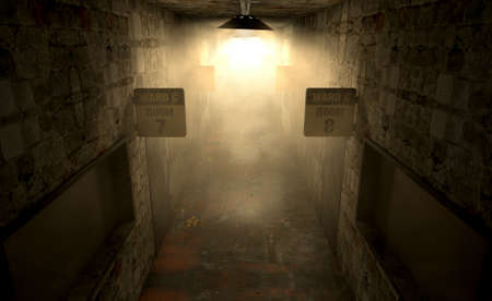 dimly: An eerie haunted look down the dimly lit passage of a dilapidated mental asylum with rooms and signs Stock Photo