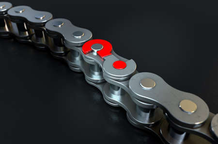 perplex: A regular bicycle chain with a question mark as its master link on a dark isolated background