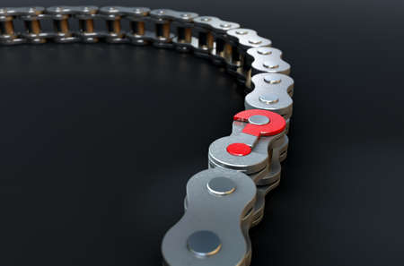 unsolved: A regular bicycle chain with a question mark as its master link on a dark isolated background