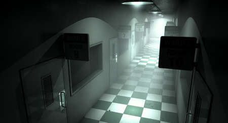 asylum: An eerie haunted look down the dimly lit passage of a dilapidated mental asylum with rooms and signs Stock Photo