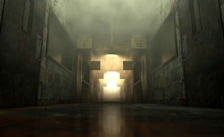 An eerie haunted look down the dimly lit passage of a dilapidated mental asylum with rooms and signs Stockfoto