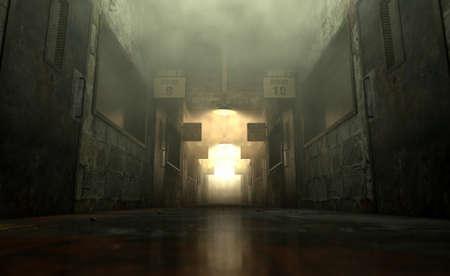 Een angstaanjagende achtervolgd blik langs de schemerige passage van een vervallen krankzinnigengesticht met kamers en tekenen