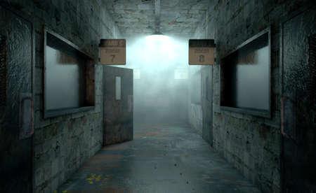 객실과 징후와 낡은 정신 보호 시설의 조명이 어두운 통로 아래로 섬뜩한 유령의 모습