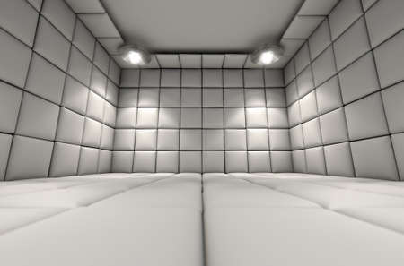 nuthouse: A white padded cell in a mental hospital