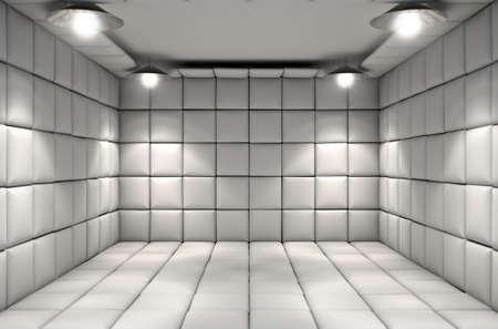 Eine weiße Gummizelle in einer psychiatrischen Klinik Standard-Bild - 51003562
