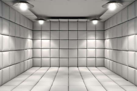 Eine weiße Gummizelle in einer psychiatrischen Klinik