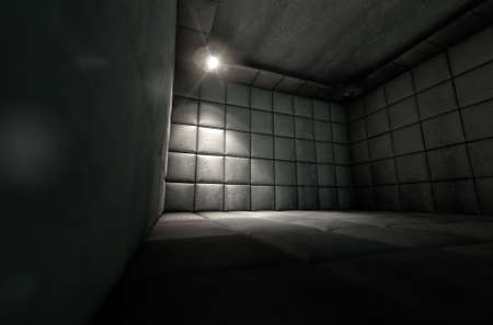 asylum: A dark dirty white padded cell in a mental hospital with a corner lit by a single spotlight