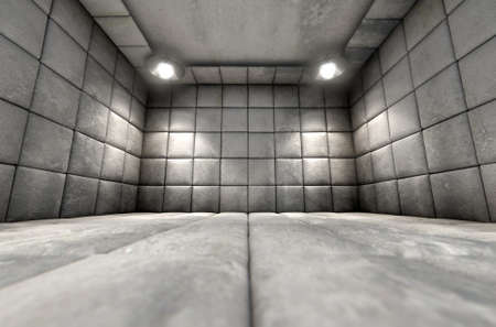 insulate: A dirty white padded cell in a mental hospital Stock Photo