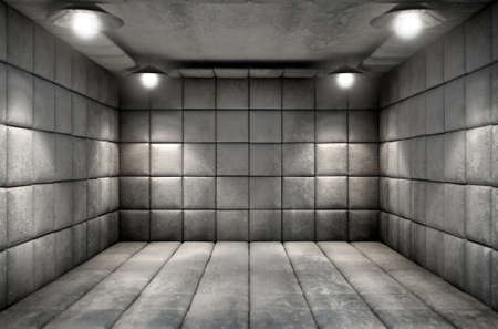 A dirty white padded cell in a mental hospital Archivio Fotografico