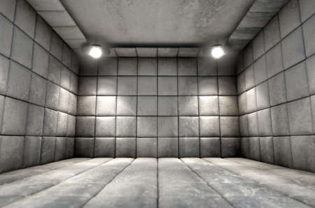 padded: A dirty white padded cell in a mental hospital Stock Photo