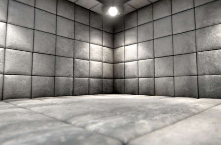 nuthouse: A dirty white padded cell in a mental hospital Stock Photo