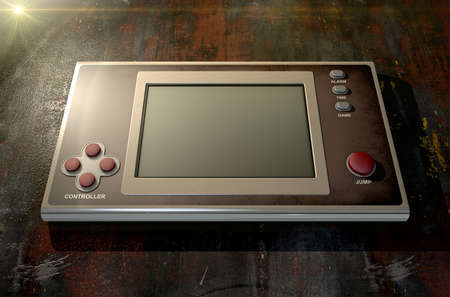 bygone: A vintage handheld video game console with a blank screen on a dark background