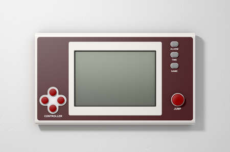 A vintage handheld video game console with a blank screen on an isolated white background Archivio Fotografico