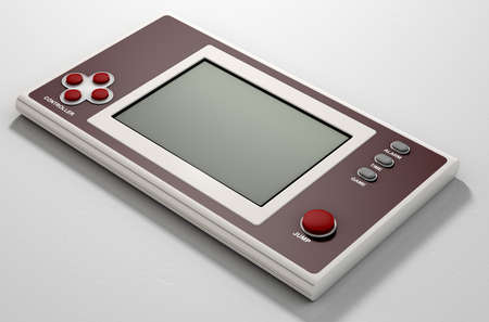 bygone: A vintage handheld video game console with a blank screen on an isolated white background Stock Photo