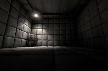 escaped: A dark dirty white padded cell in a mental hospital with an empty chair in the corner lit by a single spotlight