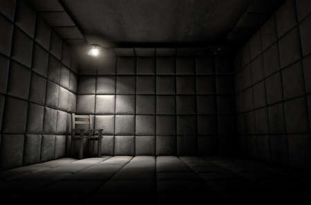 코너에 빈 의자가있는 정신 병원의 어두운 더러운 흰색 패딩 셀 단일 스포트 라이트에 의해 점화