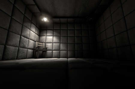 nuthouse: A dark dirty white padded cell in a mental hospital with an empty chair in the corner lit by a single spotlight