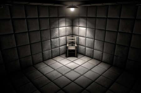 Una célula blanco sucio oscuro acolchada en un hospital psiquiátrico con una silla vacía en la esquina iluminada por una sola punto de mira