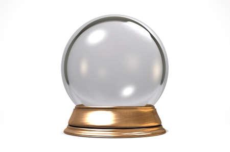 Een regelmatige kristallen bol op een geïsoleerde witte achtergrond studio